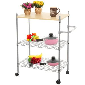 Adjustable DIY 3 Tier Wood Top Metal Rolling Kitchen Storage Serving Cart Trolley pictures & photos