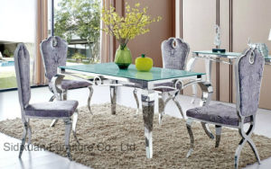 Stylish Modern Glass Dining Room Furniture with Stainless Steel Frame pictures & photos
