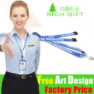 Pull Promotion ID Badge Holder Neck Card Flat Polyester Printed Lanyard Handle pictures & photos