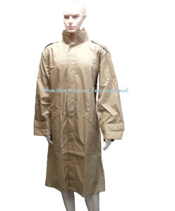 Waterproof Khaki Long Raincoat of Made in China (V4007) pictures & photos