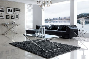 High Quality Classic End Table Glass Top Coner Table and Side Sofa Table Jj002 pictures & photos