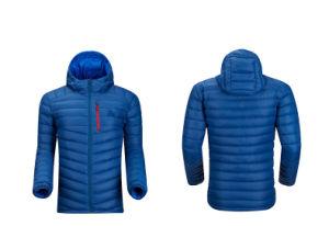 Men Blue Colour Hooded Windproof Primaloft Down Blend Jacket pictures & photos