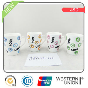 Multicolor High White Porcelain Mug with Decal pictures & photos