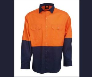 T/C Reflective Shirt with Long Sleeve with Orange and Navy pictures & photos