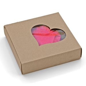 Craft Paper Chocolate Cardboard Gift Box with Heart Shape Window pictures & photos