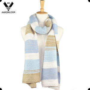 2016 New Winter Beautiful Stripe Big Womens Knit Scarf pictures & photos