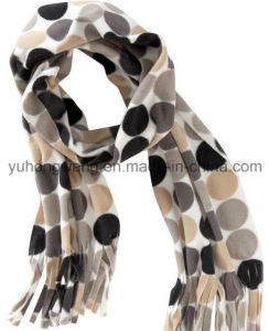 Customized Winter Warm Knitting Printed Polar Fleece Scarf pictures & photos