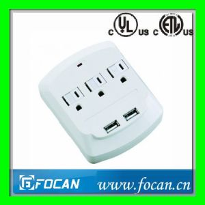 3 Outlets Surge Protected Current Tap with Double USB Ports pictures & photos