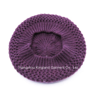 100% Acrylic Fashion Purple Knitted Beret pictures & photos