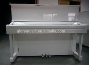[Chloris] 88 Keys Solid Wood Keyboard White Upright Piano, White Grand Piano with Silver Piano Parts Hu-123W