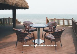 Modern Design French Simple Table and Chair Set Rattan Dining Set Wicker pictures & photos