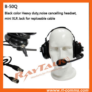 Noise Cancelling Black Heavy Duty Headset with Mini XLR Cable pictures & photos