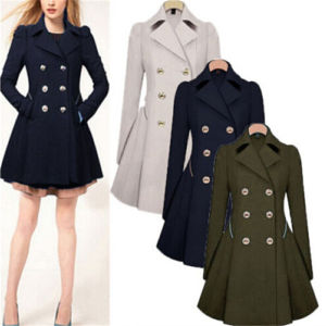 Winter Womens Lapel Wool Cashmere Long Parka (50107) pictures & photos