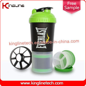 600ml Plastic Protein Shaker Bottle with Netting and Compartment (KL-7030) pictures & photos