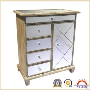 Mirrored Vineyard -Chic Four Drawers and One Door Chest Framed with Natural Timber pictures & photos