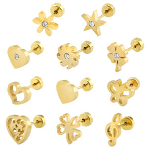 Fashion Jewelry Stainless Steel Gold Plated Women Diamond Stud Earrings pictures & photos
