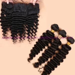 Wholesale 8A Peruvian Deep Wave Virgin Hair with Closure Ear to Ear Lace Frontal Closure with Bundles 2/3 Bundles with Closure pictures & photos