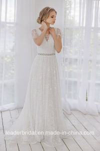 Cap Sleeves Bridal Gowns Lace A-Line Beading Wedding Dress Lb328 pictures & photos