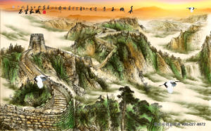 High Mountains and Running Water Painting with Red-Crowned Crane Boats on The Rivers and Villages Scenery pictures & photos
