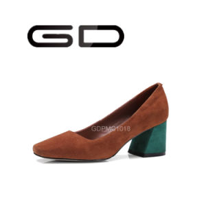 Colorful Chunky Heel Point Toe Suede Leather Pumps Shoes pictures & photos