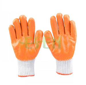 13G Orange Acrylic Liner with Full Orange Latex Smooth & Black Sandy Latex Palm Dipped Glove pictures & photos
