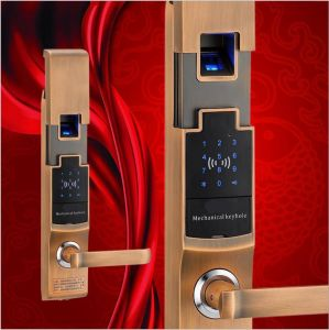 Electric Fingerprint Function Waterproof Door Lock with Motor Password Unlock pictures & photos
