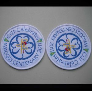 High Damask Quality Celebration Woven Badge pictures & photos