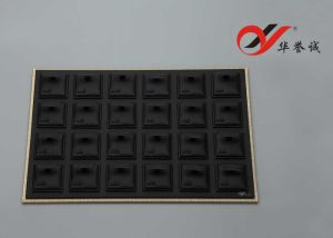 Black PU Leather 24 Components Earring Tray with Acrylic Cover pictures & photos