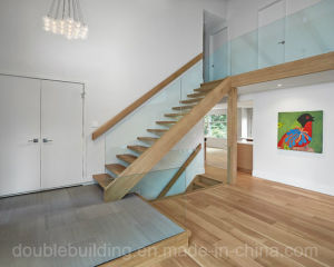 Straight Staircase in Wood with Anti Slip Wood Tread Cable Stairs Railing pictures & photos
