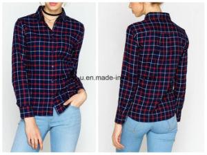 Wholesale High Quality Women Clothes Cotton Flannel Plaid Shirt pictures & photos