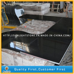 Eased Polished Black Galaxy Granite Kitchen Countertops, Vanity Top pictures & photos