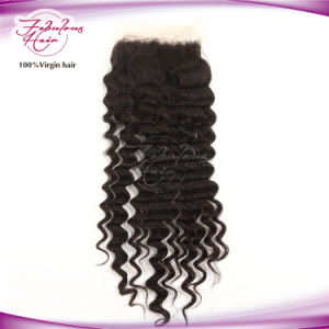 """130% Density Peruvian Deep Wave Remy Hair 4""""X4"""" Lace Closure pictures & photos"""