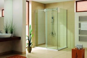 Brush Nickel Finish Shower Cubicle with Stainless Steel Rollers pictures & photos