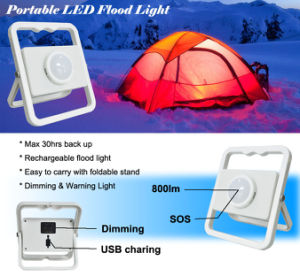 3-in-1 Rechargeable Portable Dimming LED Flood Light for Camping pictures & photos