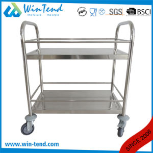 2tiers Round Tube Hand Push Moving Wine and Liquor Service Trolley pictures & photos