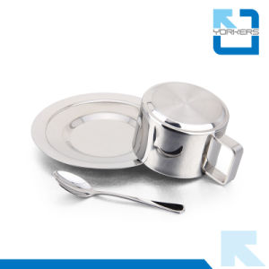 High Quality 3 Pieces Stainless Steel Coffee Cup & Mug with Spoon pictures & photos