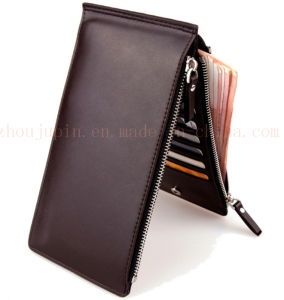 OEM Double Zipper PU Thin Purse Wallet for Promotional Gift pictures & photos