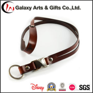 Business Leather Clear ID Card Holder Neck Strap/ Name Badge Holder Lanyard with Metal Hook pictures & photos