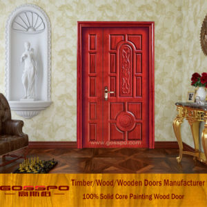 Unequal Double Door Solid Wood Entrance Door with Painting (XS1-023) pictures & photos