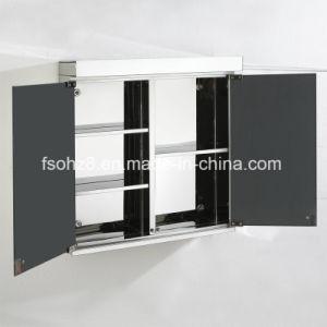 Stainless Steel Furniture Bathroom Double Door Mirror Cabinet (7002) pictures & photos