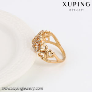 14086 Popular Fashion Heart Design CZ Gold Jewelry Ring pictures & photos