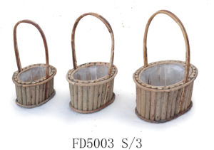 Round Wooden Flower Planter with Handle and Lining for Home and Garden Decoration pictures & photos