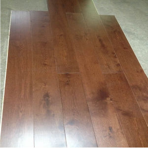 UV Laqcuered Coffee Color Oak Engineered Wood Flooring pictures & photos