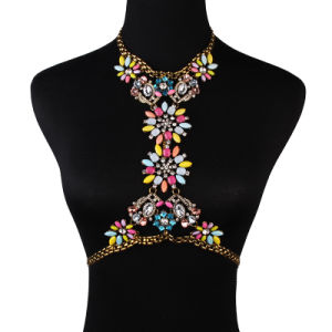 Fashion Designer Rhinestone Crystal Diamond Flower Chain Body Jewelry pictures & photos