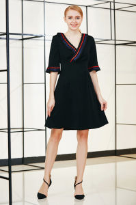 Ruffle Collar and Cuff Elbow Sleeve Solid Swing Dress