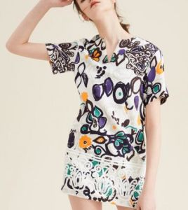 Summer Fashion Latest Printed Jacquard Scrawl Short Sleeve Women′s Dress pictures & photos