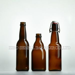 330ml Round Shape Amber Beer Bottle with Long Neck (NA-036) pictures & photos
