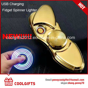 S Shape Colorful Lights Electric USB Charged Hand Spinner Cigarette Lighter pictures & photos