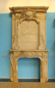 Carved Stone Fireplace with Marble Fireplace Mantel (QY-LS284) pictures & photos