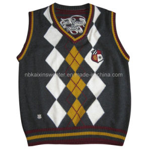 Children′s Intarsia Vest Sweater/ Campus Uniform (KX-CB43)